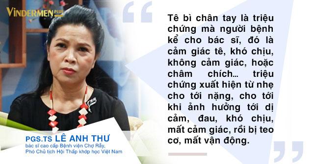 PGS.Ts Lê Anh Thư nói về chứng tê bì chân tay